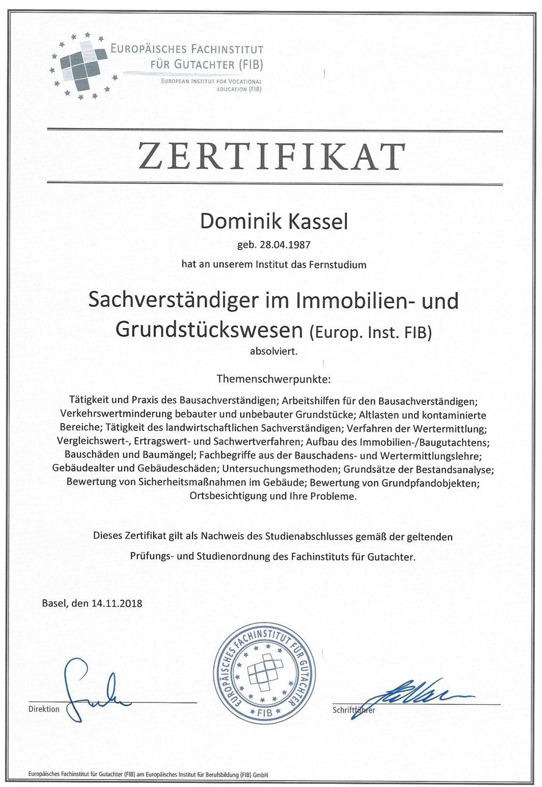 Zertifikate Dominik Kassel - Sachverständiger für Immobilienbewertung