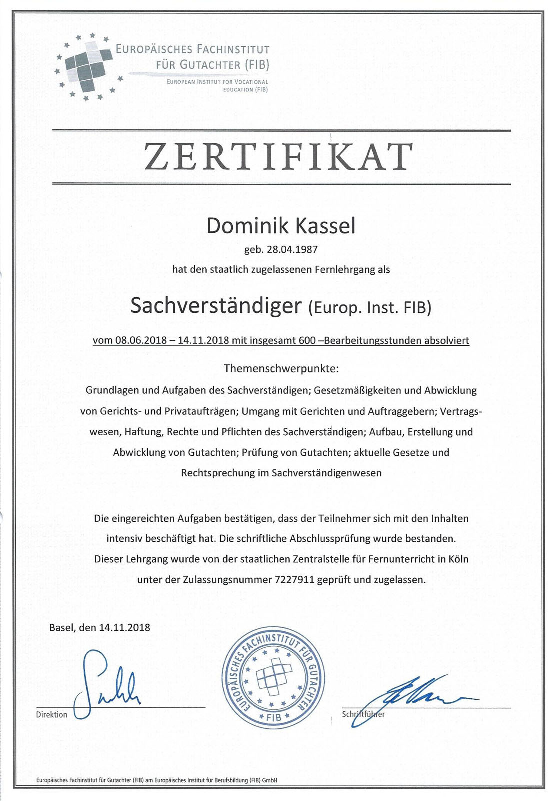 Zertifikate Dominik Kassel - Sachverständiger